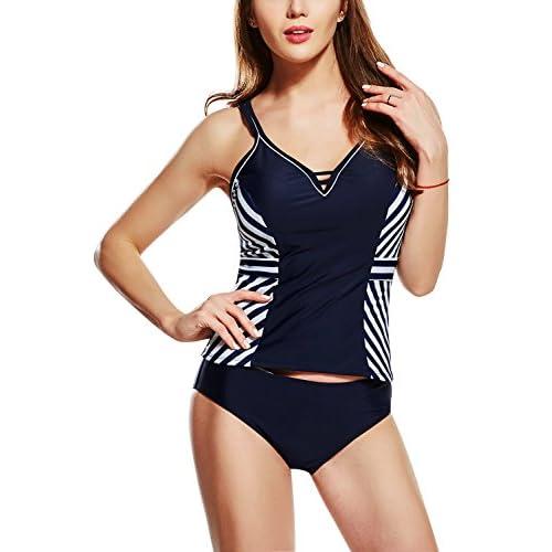 Dolamen Maillot de Bain 2 pieces Femme, 2018 Impression Rayures Light Tankini avec Shorts Push Up Beachwear Swimwear Bikini Robe de Plage Amincissante Slim Grande Taille