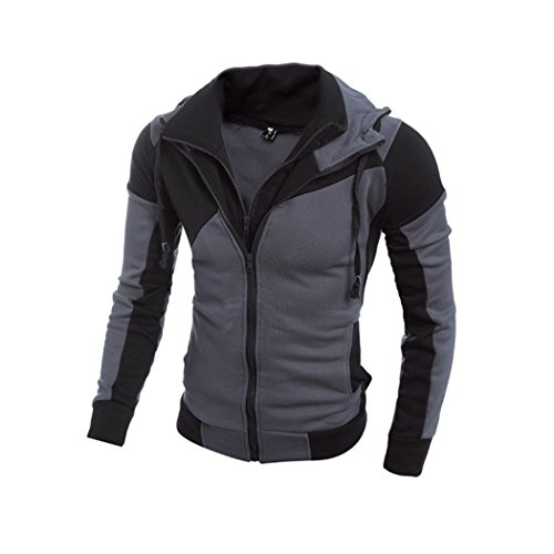 Sun Lorence Men Double Zipper Slim Hooded Sweatshirts Stylish Solid Outerwear Grey - Sun Reviews And Ski