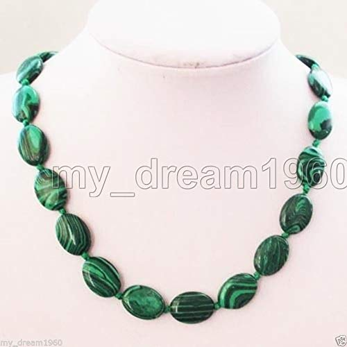 FidgetFidget Fashion Natural 13x18mm Oval Malachite Green Gemstone Flat Beads Necklace 18''