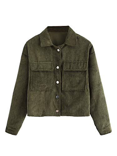 Milumia Women's Dual Pocket Corduroy Solid Jacket Single Breasted Coat Outer Tops Army Green L
