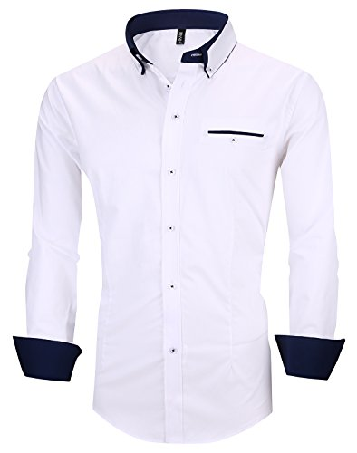 (XTAPAN Men's Long Sleeve Casual Slim Fit Inner Contrast Button Down Dress Shirt US S=Asian 2XL White 1306)