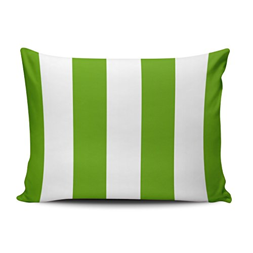 Awning Stripe Bedding - Salleing Cute Luxury Lime Green Awning Stripe One Side Decorative Pillowcase Standard Zippered Throw Pillow Case Cushion Cover 20x26 inches