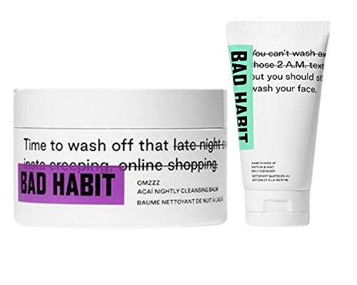 Bad Habit Day and Night Time Cleanser Set! Wake Things Up Matcha & Mint Daily Cleanser And OMZZZ Acai Nightly Cleansing Balm! Leaves Skin feeling soft and moisturized!
