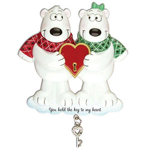 Personalized Couples Key to My Heart Polar Bear Christmas Ornament for Tree 2018 - Cute Couple Heart Rhinestone dangling - Two Winter Holiday Tradition First Our 1st Gift - Free Customization by Elves