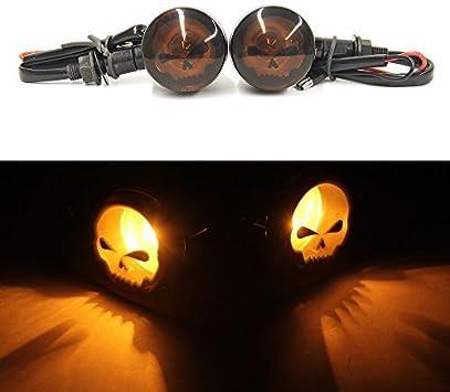 2pcs Skull Amber Lens Motorcycle Turn signal Lights Indicators Blinkers Lamp-Black