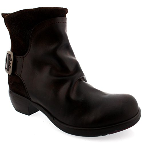 Mujeres Fly London Mel De Cuero Pull On Dark Brown Cowboy Biker Botín De Camello
