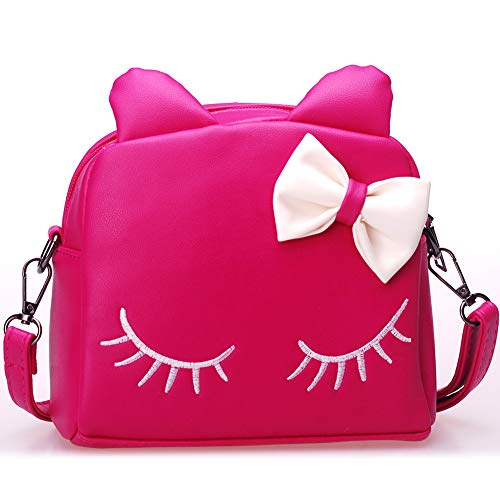 WuWuFamily PU Leather Girl Purse Cat Ear Bag Kids Mini Backpack Cute Shoulder Bags for Girls (Hot Pink)