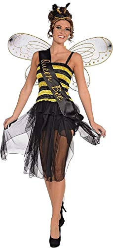 Forum Novelties 70910 Queen Honey Bumble Bee Bug Sash Women's Adult Halloween Costume Accessory, One Size, Black, Pack of 1 -