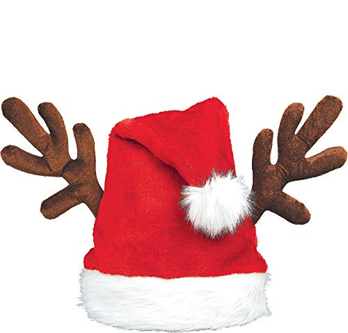 Santa Hat With Antlers (Amscan Santa Hat with Antlers,)