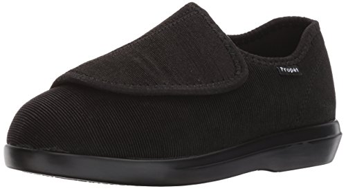 Propet Women's Cush N Foot Slipper, Black Corduroy, 8 2E US