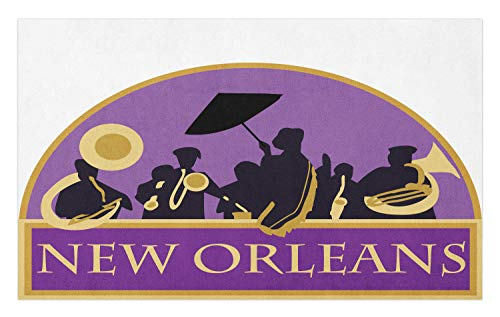 Ambesonne New Orleans Doormat, French Quarter Band with Jazz Trumpet Saxophone and Brass, Decorative Polyester Floor Mat with Non-Skid Backing, 30