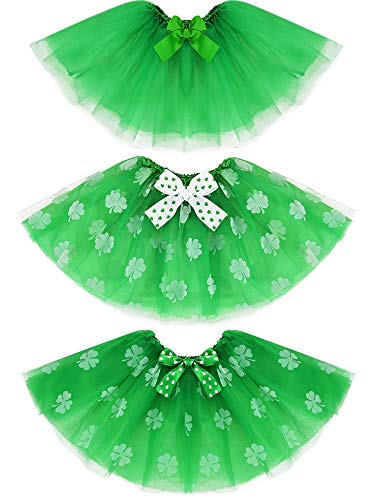 Jovitec 3 Pieces St. Patrick's Day Ballerina Tutu Skirt Tulle Layered with Shamrock Pattern, 3 Styles Green -