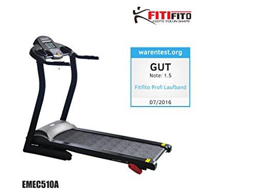 Fitifito 510A Home Laufband 3PS 12km/h mit LCD Bildschirm, 6 Zonen Dämpfungssystem, 25 Trainingsprogrammen - Klappbar, Schwarz