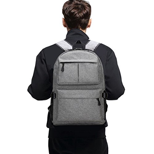 f5180aeab1a Lee Casual Canvas Backpack for School Travel Daypack with USB Port Grey