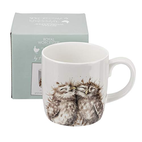 Wrendale Designs 'The Twits' Owl Mug by Royal Worcester Large 14 oz Bone China White color (China Color White)