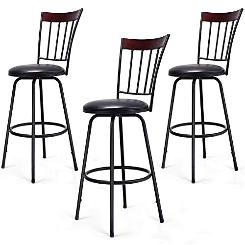 COSTWAY Bar Stools, Modern Swivel Height-Adjustable PU Leather Counter Metal Chair with Ergonomic Backrest & Footrest, for Bistro Pub Dining Room Kitchen Furniture Set of -