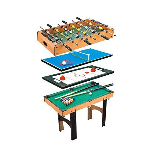 CalmaDragon Mesa Multijuegos Plegable 4 en 1 Billar, Medidas: 87 x 43 x 73cm. Ping Pong, Hockey y Futbolín Regalo ideal…