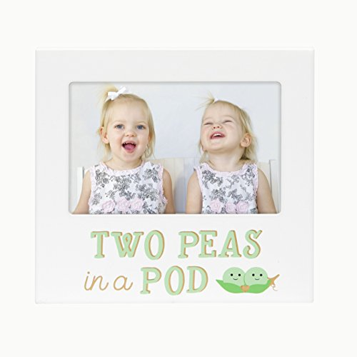 (Pearhead Two Peas in A Pod, Siblings Sentiment Frame, Keepsake Photo Frame for Twins or Siblings, White)