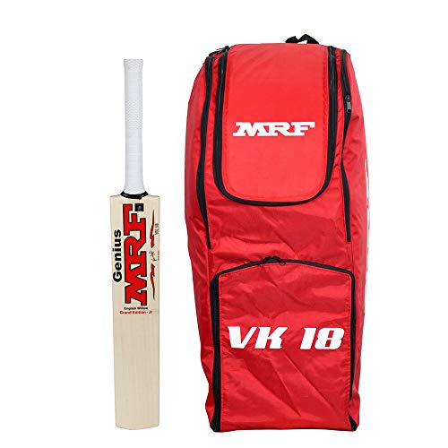 MRF English Willow Cricket BAT Grand Junior Size 6 with VK-18 Senior Cricket KIT Bag