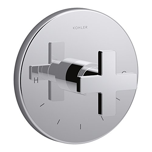 - KOHLER K-T73133-3-CP Composed Thermostatic Valve Trim with Cross Handle, Valve Not Included, Polished Chrome