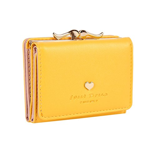 The Orient Bee Women's Mini Leather Wallet Kiss Lock Closure (One Size, yellow)