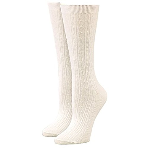 Timberland Womens Light Weight Cable Crew Socks Cream White