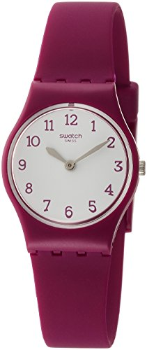 Swatch Redbelle White Dial Ladies Matte Burgundy Watch LR130