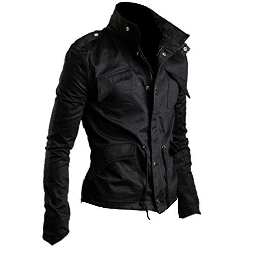 Autumn Mens Korean Style Slim Casual Plus Size Coat, Large, Black