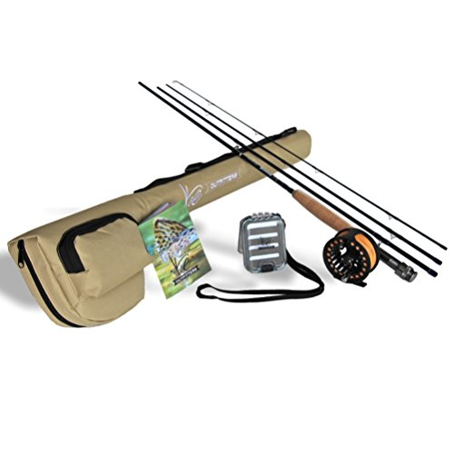 K&E Outfitters Drift Series 5wt Fly Fishing Rod and Reel Complete Package (Silver Reel)