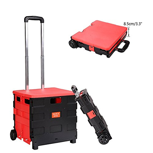 Two-Wheeled Folding Hand Cart Plastic Hefty Heavy-Duty Lightweight Quality with Cover US Stock 44 Ibs