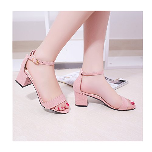 Thick Sandles Pink Korean Style Flip Women's Toe Saneoo Open Sandals Women Heel Women Flops Shoes Summer Shoes Gladiator y6qqz8TA