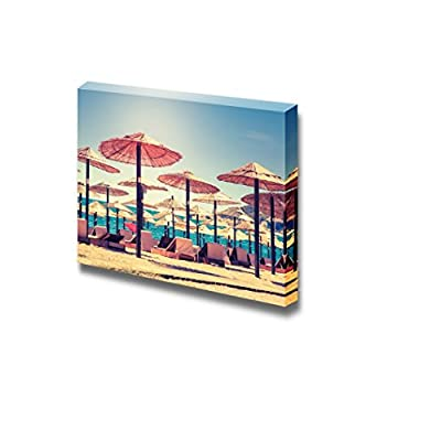 Canvas Prints Wall Art - Thatched Umbrellas and Beach Chairs on The Beach - 24