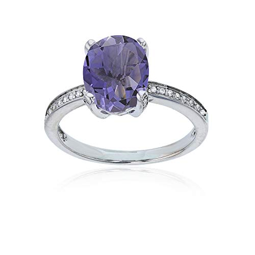 14K White Gold 0.08 CTTW Round Diamond Channel Set & 10x8 Oval Iolite Engagement Ring ()