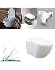 Creavit design ophang wc met rvs sproeier (bidet) Rim Off met een geïntegreerde warm/koud water kraan