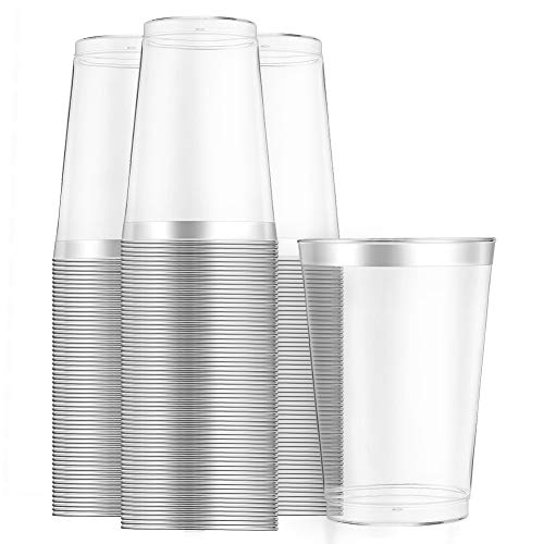 WELLIFE 12 Oz Clear Plastic Cups 100 Pack,Silver Cups Disposable-Old Fashioned Tumblers Plastic Wedding Cups Party Cups