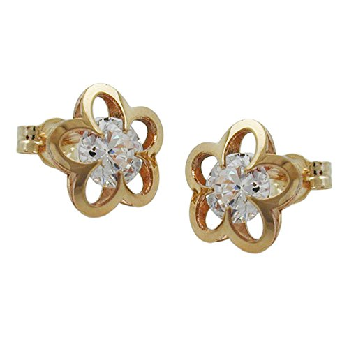 Earrings, Blume mit Zirkonia, 9Kt GOLD
