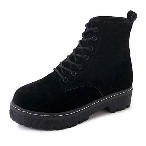 ZHZNVX leather Nubuck for HSXZ Mid Brown Toe Round Boots Boots Black Calf Low Women's Winter Combat Green Casual Boots Fall Shoes Black Heel AWqFtwnArx