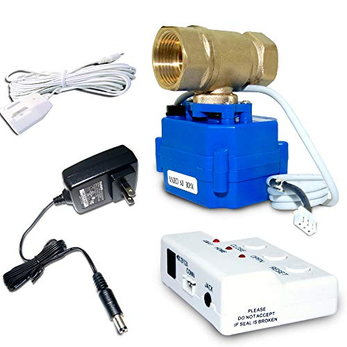 E-SDS Water Leak Detector with Shutoff Valve,Sensors and Sounds Alarm,Automatic Water Leak Shut Off Valve System,for Pipes 3/4 NPT,Flood Prevention for Laundry,Water Heaters and More ()
