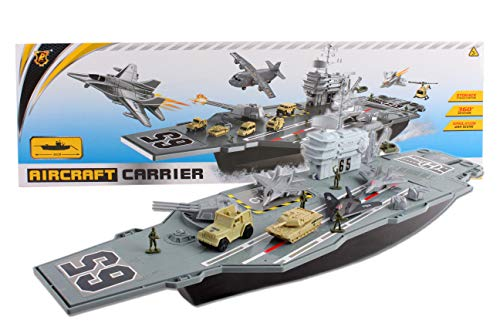 - deAO Model Ship Aircraft Carrier with Scale Model Warplanes and Armoured Trucks