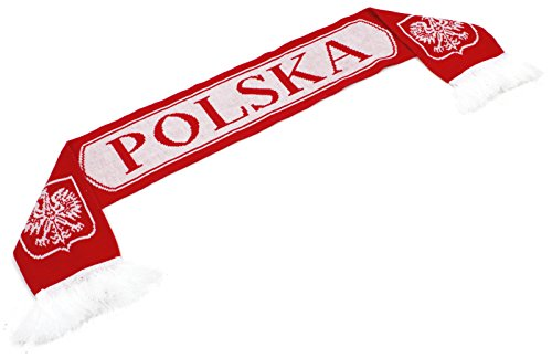 """High End Hats """"Official Nations of Europe Scarf Collection"""" Double Weave Head Scarf for Men or Women, Poland Polska with Coat of Arms, Red"""