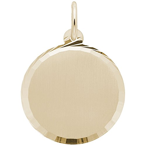 (Rembrandt Charms, Diamond Cut Disc, Brushed Finish, 22K Yellow Gold Plated Silver, Engravable )
