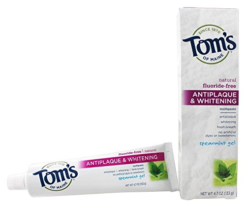 Whitening Spearmint - Tom's of Maine Antiplaque and Whitening Natural Fluoride-Free Toothpaste, Spearmint Gel, 5.5 oz. (Pack of 3)