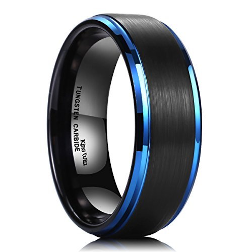 King Will 8mm Black Brushed Finish Tungsten Carbide Ring Blue Plated Wedding Band