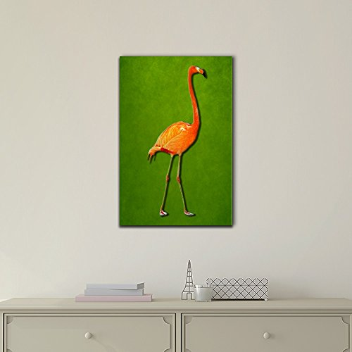 Red Flamingo Illustration on Green Background
