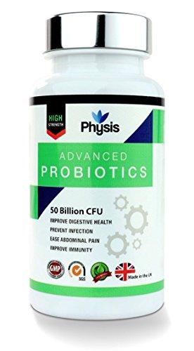 Physis Advanced Probiotics | 50 Milliarden überlebensfähige Bakterienstämme täglich | Hohe Stärke | Freundliche Und Aktive Bakterien Um Das Immunsystem Zu Stärken | Verstärkt Generelles Wohlbefinden | Ersetzt Verloren Gegangene Gute Bakterien | Bekämpft Verschiedene Erkrankungen Wie Durchfall, Pilzerkrankungen, Laktose-Intoleranz, IBS Symptome Und Zahnfleischentzündung | 100% Vegetarisch / Sicher Für Veganer / Glutenfrei | 60 Kapseln | Hergestellt Unter Strengen Regulierungen In UK.