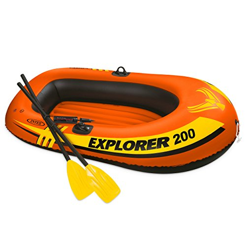 Intex Explorer 200, 2-Person Inflatable Boat Set with French Oars and Mini Air - Dinghy Inflatable
