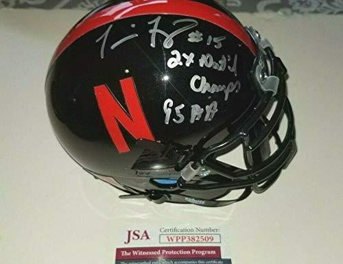 Nebraska Cornhuskers Autographed Signed Memorabilia Tommie Frazier Mini Helmet 2X Inscrption - Certified Authentic