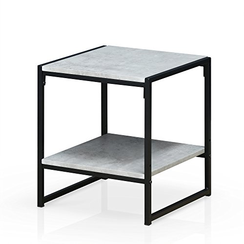 (Furinno FM4045ST-2SW Modern Lifestyle 2-Tier End Table, Faux Stone)