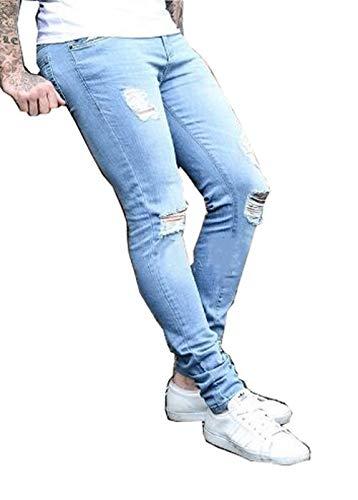 Lunghi Casuali Da Adelina Jeans Hellblau Stretch Sportivi Buchi Distrutti Pantaloni Con Di Ragazzi Larghi Uomo Abbigliamento pxxqavY