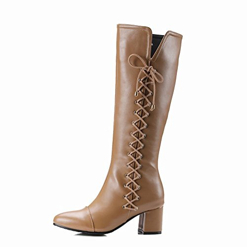 Carolbar Womens Zip Bandage Retro Mid Heel Riding Alti Stivali Western Albicocca
